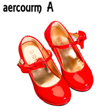 Aercourm A Girls Patent Leather Shoes High Heels Children Princess Shoes 2017 Spring Children Girls Leather Shoes Pink Red Black(China)
