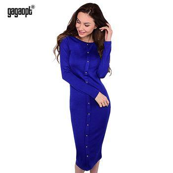 Gagaopt 2017 otoño dress vestidos de punto vestidos de la rodilla-longitud de la manga larga azul delgado oficina winter dress túnicas vestidos