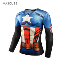 MASCUBE 2017 Men 3D T shirts Compression Basketball Shirt Elastic Jersey Captain America Fitness Camiseta Brand Clothing(China)