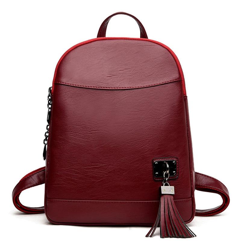 Women Backpacks Womens Tassels PU Leather Backpacks Female School Shoulder Bags Teenage Girls College Student Casual Bag F94<br>