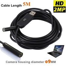 2MP 9mm 6LED Snake Industrial USB Endoscope Camera IP67 Waterproof Mini Video Camera Borescope Pipe Endoscoop Flexible Camera 5M