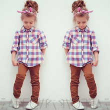 Fashion Checked Shirts Kid Girls Long Sleeve Plaid Tops Blouses Button Down Blouse 2-7