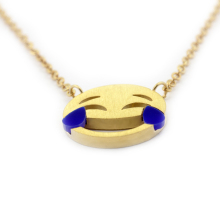 10pcs/1lot Simple Style Gold Emoji Necklaces Women Jewelry Stainless steel Blue Color Laughing tears Face Pendant Necklaces(China)