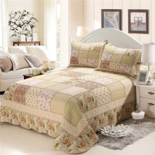CHAUSUB Cotton Patchwork Quilt SET 4PC Floral Quilts Korean Bedspread Bed Cover Quilted Bedding Set Duvet Cover Pillowcase