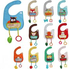 2017 1PC Cartoon Animal Style Waterproof Baby Bibs with teether toy burp cloths Saliva towel new pouch series wholesale price(China)