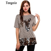 Tengeio Tshirt Women 2017 Christmas Beer Print Leopard T-Shirt Tunic Tops Short Sleeve Harajuku Tee Shirt Femme Camiseta Ab20(China)