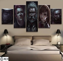 5 Panel Canvas Printed Game Poster Overwatch Home Decor For Living Room Wall Art Canvas Painting Pictures Modern Artwork Cuadros
