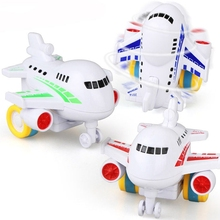 1Pcs Children Toys Colorful Mini two-way Inertia Model Diecast Airplane Cartoon Cute puzzle Gift Friction Toy for boy 1-3 years