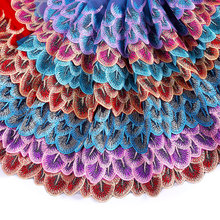 Misaya 2Y Peacock Tail 7 Style Colorful Lace Ribbon DIY Embroidered Net Lace Trim Fabric Ribbons For Sewing Decoration Supplies(China)
