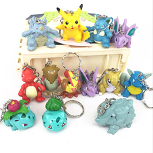 New 13pcs/sets Game Pokemon Keychain Cartoon 3D Pocket Monster Pikachu Keyrings Toy Dolls Key Chain Christmas Gift(China)