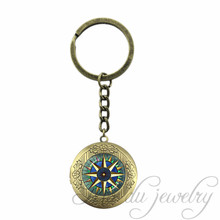Antique Bronze Plated Glass Dome Key Chains Vintage Sailor's Compass Locket Keychain Compass Rose, Wind Rose, Nautical Jewelry