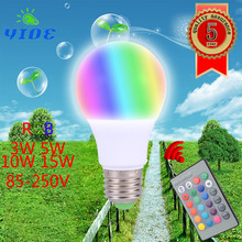NEW RGB LED Lamp 3W 5W 10W 15W E27 RGB LED Light Bulb 110V 220V 85-250V SMD5050 Multiple Color Remote Control RGB Lampada LED(China)