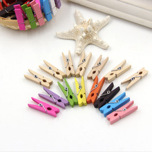 50pcs 3.5cm Mini Color Wooden Craft Pegs Clothes Paper Photo Hanging Spring Clips Clothespins For Message Cards For Best Price(China)