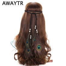 AWAYTR America Indian Peacock Feather Headband Women Halloween Feather Headwear Headdress Vintage Ladies Party Evening Headwear
