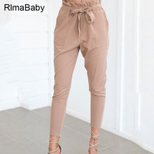 RlmaBaby Summer High Waist Lace Up Pencil Pants Sexy Bandage Bow Trousers Women Casual Streetwear Khaki Pants(China)