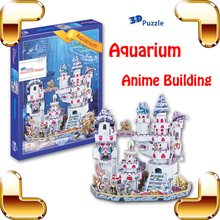 New Year Gift Anime Aquarium 3D Model Building Puzzle Cartoon Structure Model Comic Puzzle Toys Kids IQ Training Collection