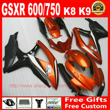 High quality Fairing kit for Suzuki GSXR 600 GSXR 750 08 09 10 brown black fairings set K8 GSX R 600 750 2008 2009 2010 BM91