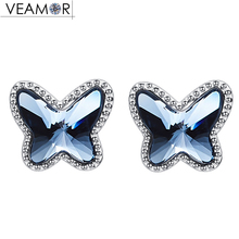VEAMOR Fashion Blue Crystal Butterfly Stud Earrings For Women 100% 925 Sterling Silver Jewelry Original Crystals From Swarovski(China)