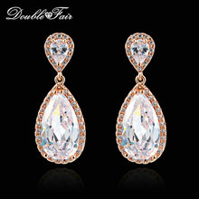 Double Fair Luxury Big Crystal Water Drop Earring Silver/Rose Gold Color Fashion Wedding Jewelry Dangle Earring For Women DFE842(China)