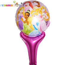 Juguetes Ballon 5pcs Beautiful Cartoon Hand Held Foil Princess Printed Handheld Balloon Toys For Kid Gift Party Layout Balloons