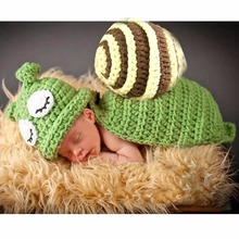 Puseky Cute Newborn Photography Props Snail Costume Hand Crochet Knit Infant Beanie Hat with Cape Baby Snail Costume Green(China)