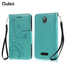 DULCII for Lenovo A 1000 A1000 Celular Case Bag Imprint Flower Butterfly Phone Flip PU Leather Telephone Smartphone Cover(China)