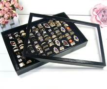 Fashion Organizer Show Case Jewelry Display Rings Holder Box New Black 100 Slots Ring Storage Ear Pin Display Box Wholesale A03