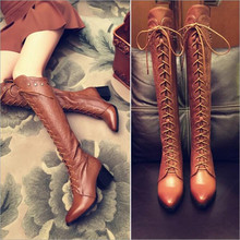 2017 Genuine Leather Women Boots over the knee boots Luxury Design famous brand boots  Handmade Shoes Thick Heel High Boots