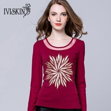 2017 New Design Autumn Diamonds Shirt Women Long Sleeve Breathable Comfortable Top Quality t-Shirt Female