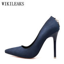 Buy Red Fetish High heels shoes woman 2018 Genuine suede leather women Pumps Thin Spike Heel Pointed Toe Spring blue valentine shoes