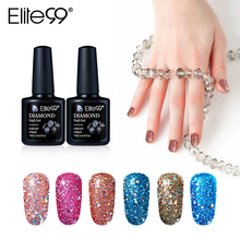 Elite99 New Arrival 10ml Diamond Glitter UV Nail Polish Sequins Gel Nail Manicure Soak Off Gel Polish Need Lamp Curing(China)