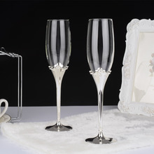 crown shape silver plated metal stem fashion toasting wine glasses set wedding champagne flutes for love gifts goblet