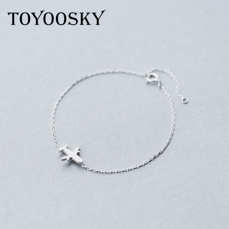 Real. 925 Sterling Silver Jewelry Matte Aircraft airplane Plane chain bracelet adjustable Charm sterling-silver Girls Woman