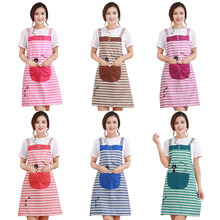 Anti-oil stain stylish plaid striped aprons Cute Cat kitchen Aprons Sleeveless with pockets 5 color(China)