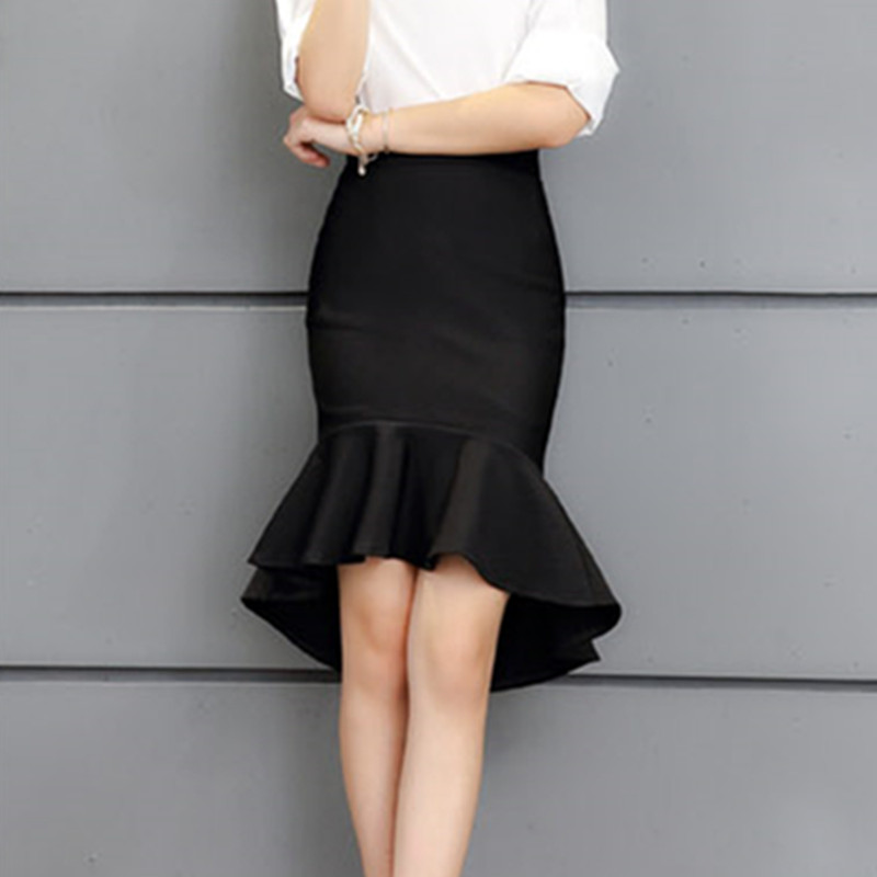 Fashion star style low-high fish tail skirt bust skirt ol slim high waist slim hip skirt ruffle step(China)