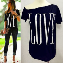 Fashion Women Loose Casual Short Sleeve Sexy Shirt Tops Ladies Letter Love Top Black grey Red Blue Four color