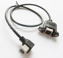 90 Degree Angled USB B Male to Female Extension Cable W/Screw For Panel Mount About 50CM/Free Shipping/5PCS(China)