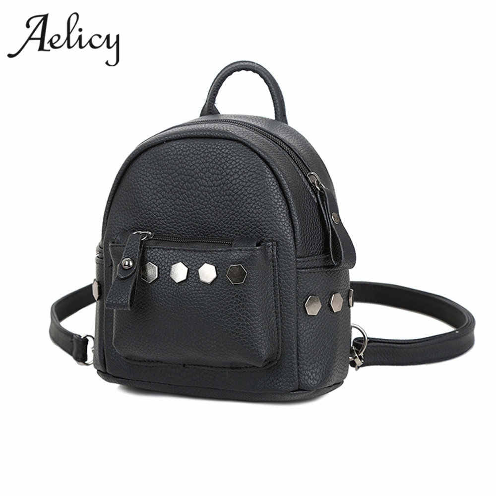 31313245bf7 Aelicy New Fashion Mini Rivets Women Backpack Lady School Bags for Girls  Female luxury women bags