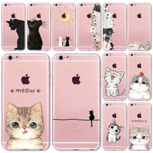 Cute Cat Case Cover For Apple iPhone 7 7Plus 6 6s Plus 6Plus 4 4s 5 5s SE 5C Transparent Soft Silicone Cell Phone Cases Bag Capa