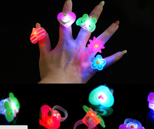 LED Cartoon soft finger ring led flash luminous party props light up toys kids cartoon colorful gift 1000pcs/lot(China)