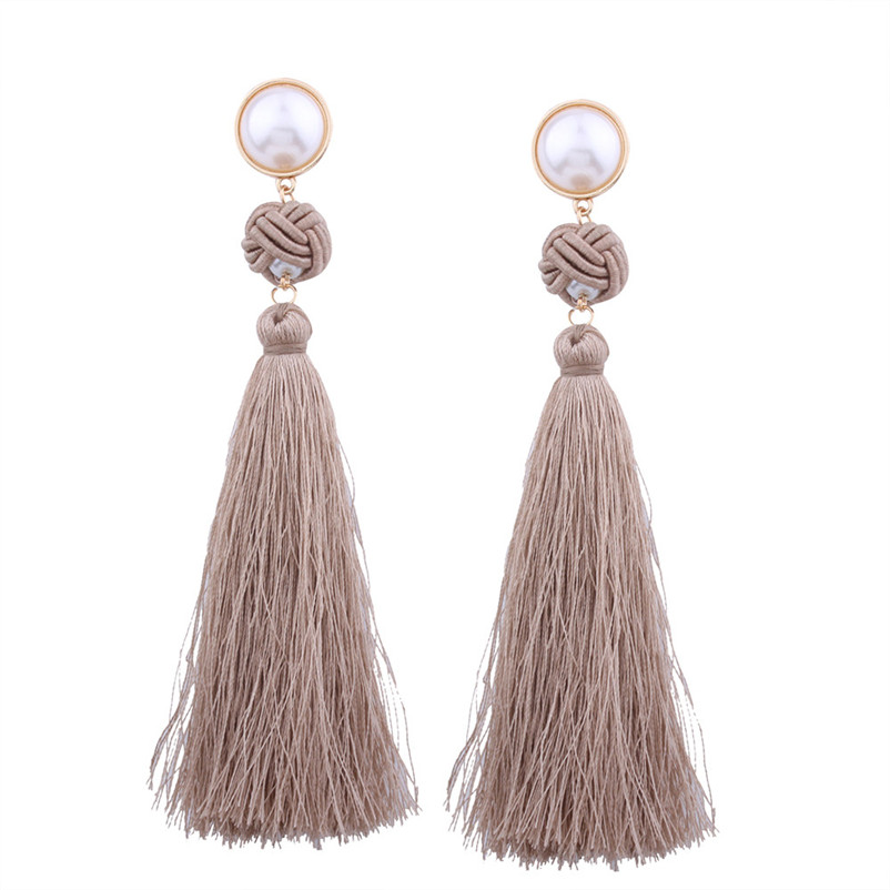 Trendry Earrings for Women Vintage Bohemian Fashion Weave Tassel Earrings Long Drop Earrings Jewelry for gift Brincos J05#N (18)