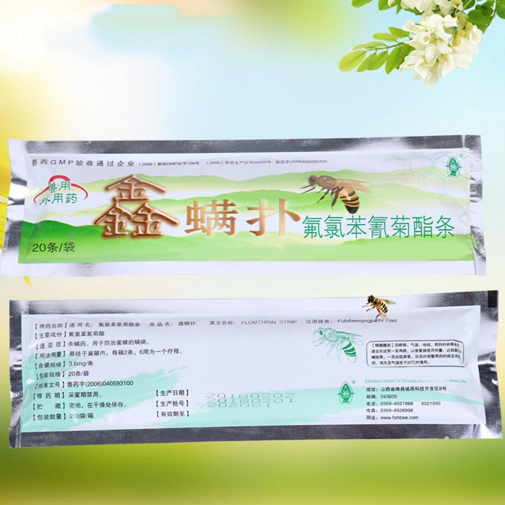 20pcs Professional Acaricide Mite Strip Against Varroa Mite Killer Pest Control