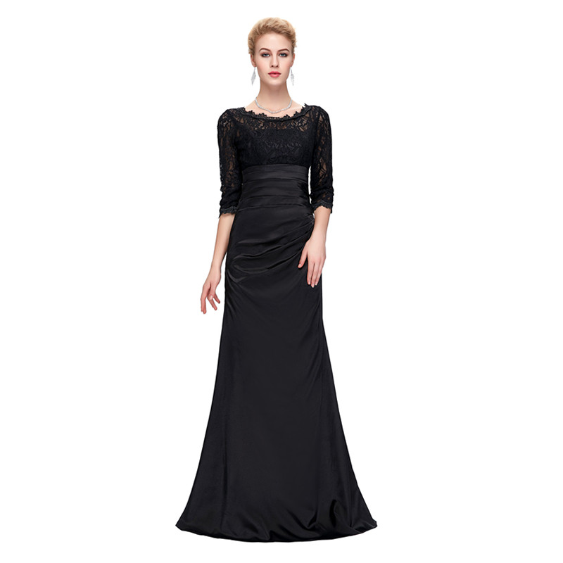 Grace Karin Lace Evening Dress 3/4 Sleeves O-neck Satin Pleated Black Special Occasion Dresses Robe De Soiree Longue 9