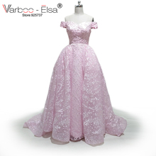 VARBOO_ELSA Two Pieces Wedding Dresses Removable Skirt Off Shoulder Lace Detachable Wedding Dress 2017 Robe de Mariee pink Gowns(China)