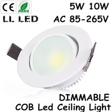 Recessed Led COB Downlight dimmable AC110V/220V 5W 10W Ceiling Lamp Indoor Lighting with Led driver Led Spot Lighting White Body