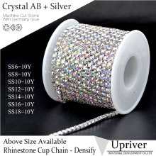 SS16 Crystal AB Silver Base Densify Claw Shiny Glass Rhinestone Cup Chain 10yards/roll For Wedding Dress