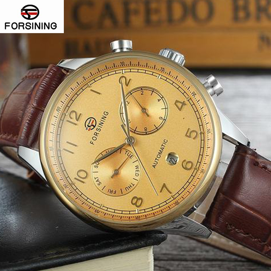 Top Brand Luxury Forsining Classic Calendar White Fashion Silver Dial Genuine Leather Roman Number Display Mens Automatic Watch<br>
