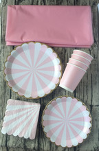 8 Sets (33pcs) Tableware Table Cloth Pink & Gold Stripe Paper Cups Plates Napkins First Birthday Baby Shower Carnival Moments