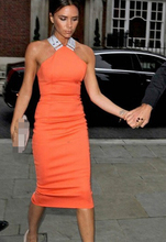 Free Shipping Sexy Party Queen Victoria Beckhams Cross Back Slim Ladies Halter Dress Orange