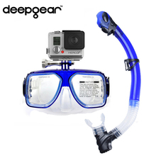 DEEPGEAR camera scuba mask diving snorkel equipment Two windows tempered glass scuba mask to Gopro Hero,SJ action camera mask